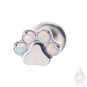 NEW Titanium white opal paw threadless pair